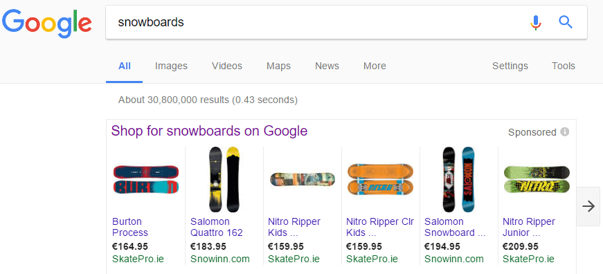 Google Shopping_Product Listing Ad Results